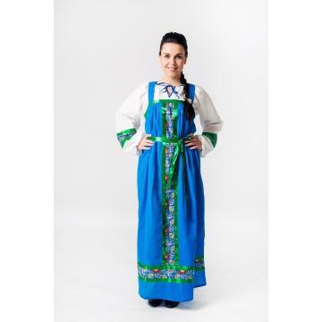 Сарафан «Арина» хлопок синий для русских народных танцев