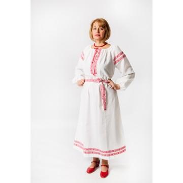 Платье «Варвара» лён белое для русских народных танцев