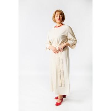 Платье «Доброслава» лён серое для русских народных танцев