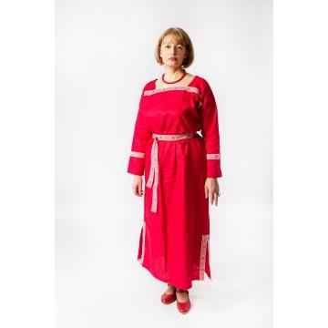 Платье «Милада» лён красное для русских народных танцев