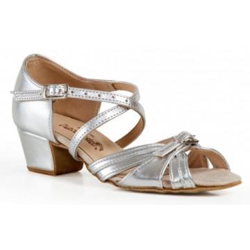 Рейтинговые туфли для бальных танцев «DanceMaster 164Кd (серебро)» 3см (Катя)