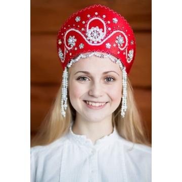 Кокошник «Алина» красный для русских народных танцев