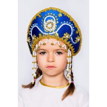 Кокошник «Алина» синий для русских народных танцев