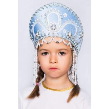 Кокошник «Алина» голубой для русских народных танцев