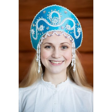Кокошник «Алина» бирюзовый для русских народных танцев
