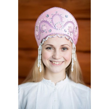 Кокошник «Алина» розовый для русских народных танцев