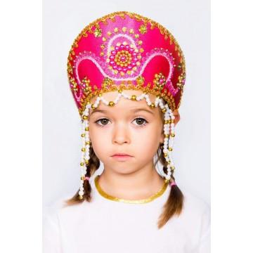 Кокошник «Алина» малиновый для русских народных танцев