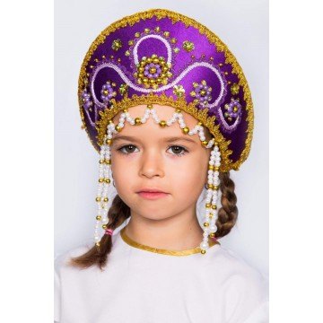 Кокошник «Алина» фиолетовый для русских народных танцев
