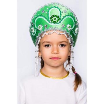 Кокошник «Алина» зеленый для русских народных танцев