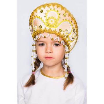 Кокошник «Алина» золотой для русских народных танцев