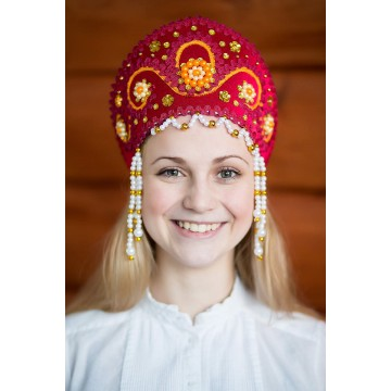 Кокошник «Алина» бордовый для русских народных танцев