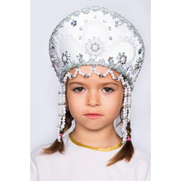 Кокошник «Алина» белый для русских народных танцев