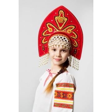 Кокошник «Анна» красный для русских народных танцев