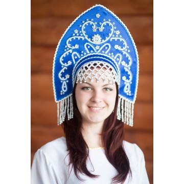Кокошник «Анна» синий для русских народных танцев