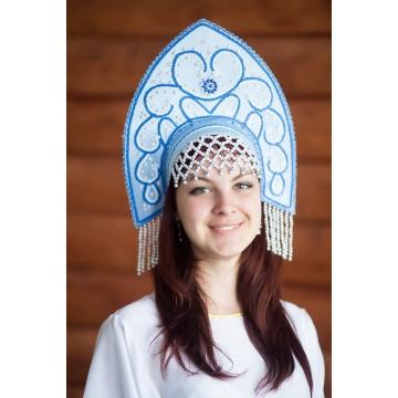 Кокошник «Анна» голубой для русских народных танцев