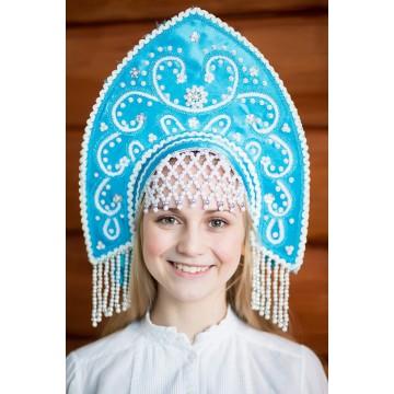 Кокошник «Анна» бирюзовый для русских народных танцев