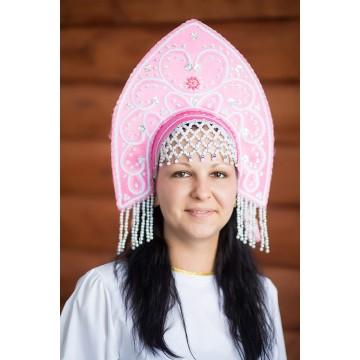 Кокошник «Анна» розовый для русских народных танцев