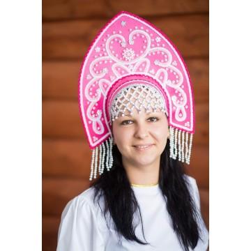 Кокошник «Анна» малиновый для русских народных танцев