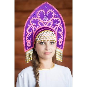Кокошник «Анна» фиолетовый для русских народных танцев