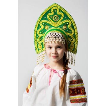 Кокошник «Анна» зеленый для русских народных танцев