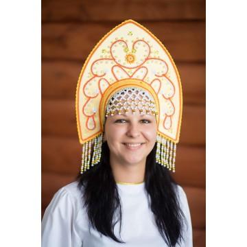 Кокошник «Анна» золотой для русских народных танцев