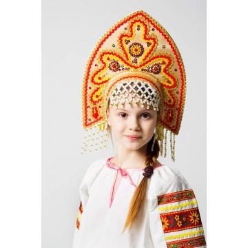 Кокошник «Анна» золото для русских народных танцев
