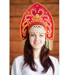 Кокошник «Анна» бордовый