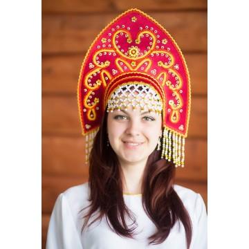 Кокошник «Анна» бордовый для русских народных танцев