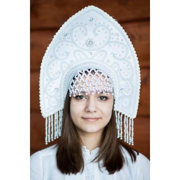 Кокошник «Анна» белый для русских народных танцев