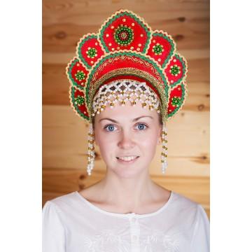 Кокошник «Елена» красный для русских народных танцев