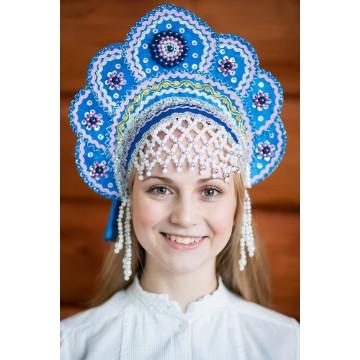 Кокошник «Елена» синий для русских народных танцев