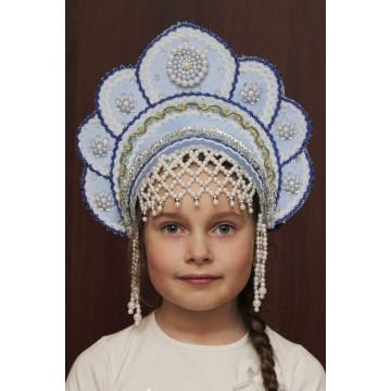 Кокошник «Елена» голубой для русских народных танцев