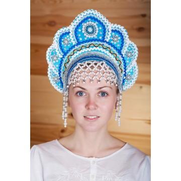 Кокошник «Елена» бирюзовый для русских народных танцев