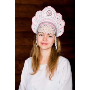 Кокошник «Елена» розовый для русских народных танцев