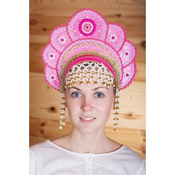Кокошник «Елена» малиновый для русских народных танцев