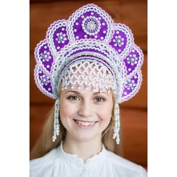 Кокошник «Елена» фиолетовый для русских народных танцев