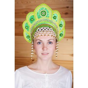 Кокошник «Елена» зеленый для русских народных танцев