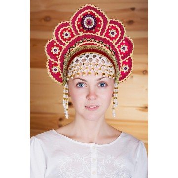 Кокошник «Елена» бордовый для русских народных танцев