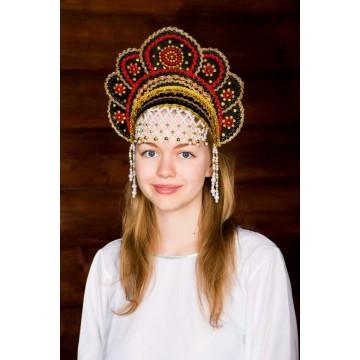 Кокошник «Елена» черный для русских народных танцев