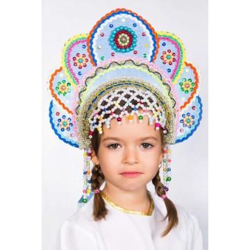 Кокошник «Елена» голубая радуга для русских народных танцев