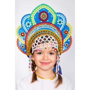 Кокошник «Елена» бирюзовая радуга для русских народных танцев
