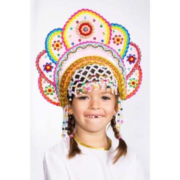 Кокошник «Елена» розовая радуга для русских народных танцев