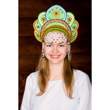 Кокошник «Елена» зеленая радуга для русских народных танцев