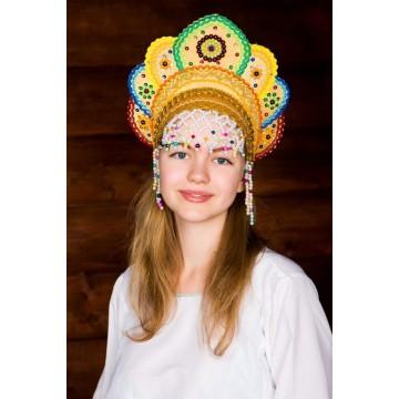 Кокошник «Елена» золотая радуга для русских народных танцев
