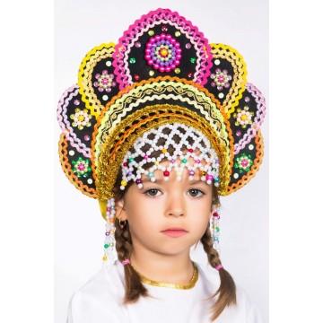 Кокошник «Елена» черная радуга для русских народных танцев