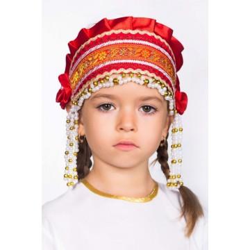 Кокошник «Инна» красный для русских народных танцев