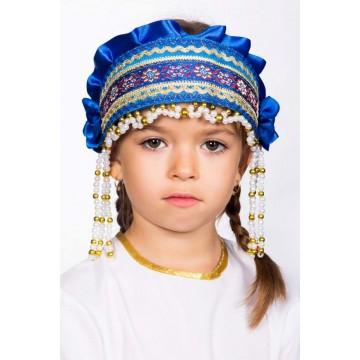 Кокошник «Инна» синий для русских народных танцев