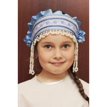 Кокошник «Инна» голубой для русских народных танцев