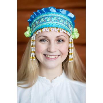 Кокошник «Инна» бирюзовый для русских народных танцев