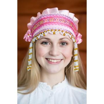Кокошник «Инна» розовый для русских народных танцев